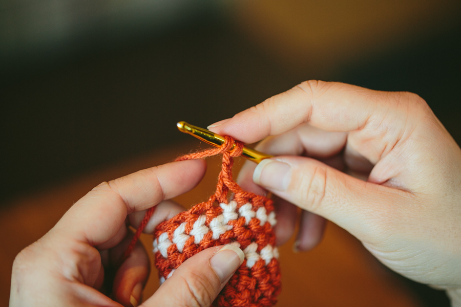 ... and Ending Double Crochet Row in Tubular Crochet The Firefly Hook