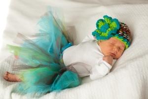 Iva: 1 week. Crocheted hat. Handmade tutu. Photo by: Monika Rae Photography